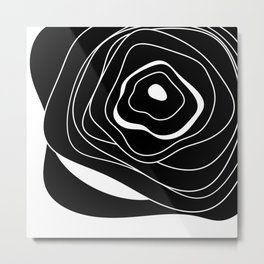 Black and white abstract flower Metal Print