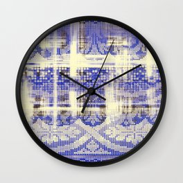 needlepoint sampler in blues Wall Clock