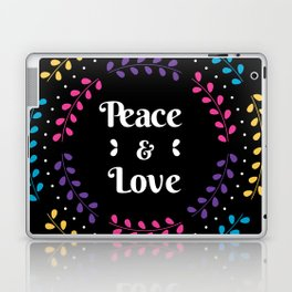 Peace And Love Holiday Invitation With Floral Laptop & iPad Skin