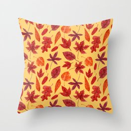 Red autumn leaves watercolor Throw Pillow