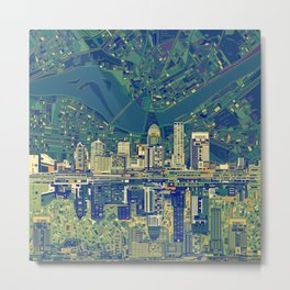 louisville city skyline green Metal Print