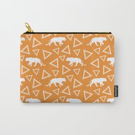 Wild African walking white lioness silhouettes and abstract triangle shapes. Stylish whimsical ethnic bright sunny orange retro vintage geometric animal nature pattern. Carry-All Pouch