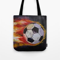 soccer Tote Bags featuring Soccer by Michael Creese
