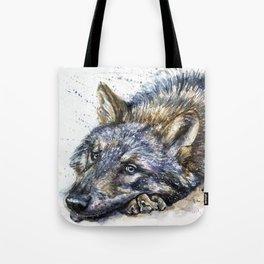 Wolf watercolor Tote Bag