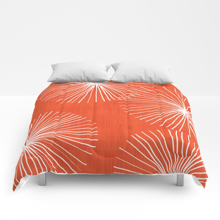 Dandelions in Red by Friztin Comforters