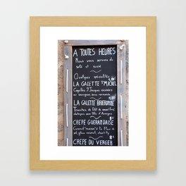 Nantes Menu Framed Art Print