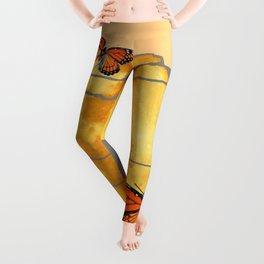 MOON & MONARCH BUTTERFLIES DESERT SKY ABSTRACT ART Leggings