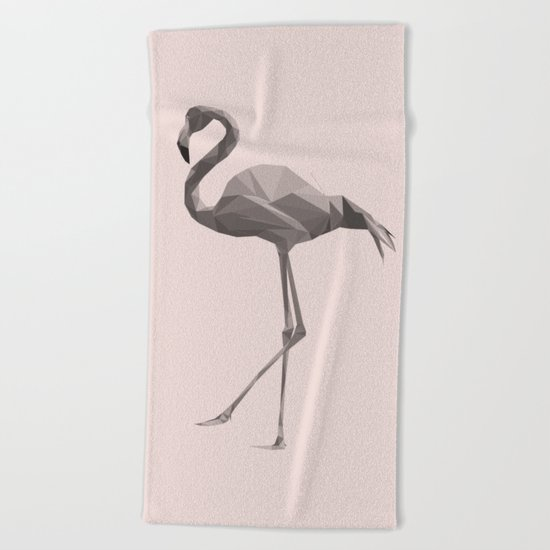 Flamingo in pink key Beach Towel