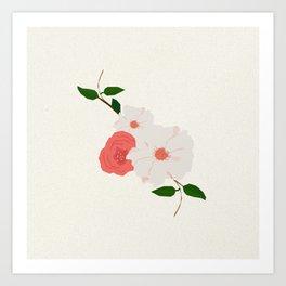 Love-Ly Flowers Pink & White Art Print