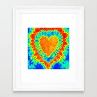 tye dye Framed Art Prints featuring TYE DYE HEART by TMCdesigns