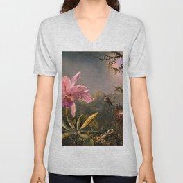 Cattleya Orchid and Three Brazilian Hummingbirds by Martin Johnson Heade. Unisex V-Neck