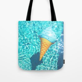blue ice cream cone float all up in my pool yo Tote Bag