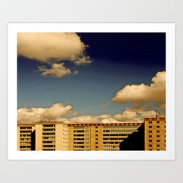 Office block and clouds Art Print