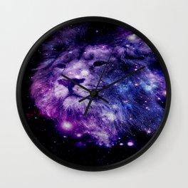 leo lion purple blue Wall Clock