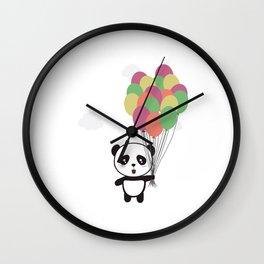 Panda with colorful balloons Wall Clock