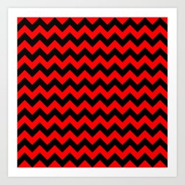 Large Red Devil and Black Halloween Chevron Zigzag Stripes Art Print