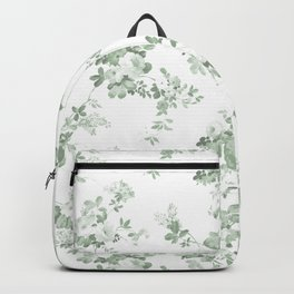 Elegant vintage green white roses shabby floral Backpack