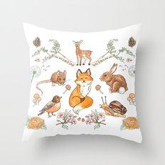 Lady Woodland Throw Pillow