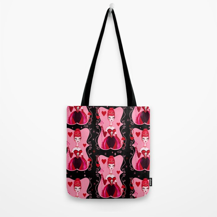 Queen of Hearts on Black Tote Bag