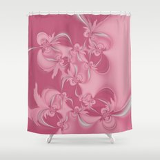 Pink Fractal Flowers Shower Curtain