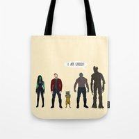 guardians of the galaxy Tote Bags featuring GUARDIANS OF THE GALAXY by Kaitlin Smith