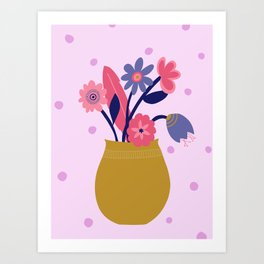 Pink Spotty Flower Art Print