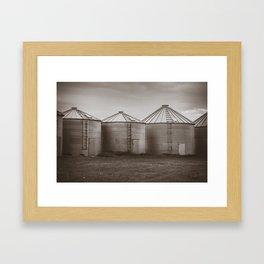 Grain Bins, Sepia Framed Art Print