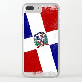 Dominican Republic Distressed Halftone Denim Flag Clear iPhone Case