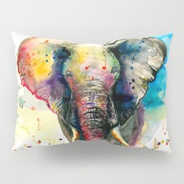 RAINBOW ELEPHANT WATERCOLOR Pillow Sham