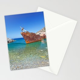 Olympia shipwreck of Amorgos island in Cyclades, Greece Stationery Cards