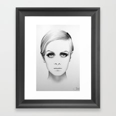 Twiggy Minimal Portrait Framed Art Print