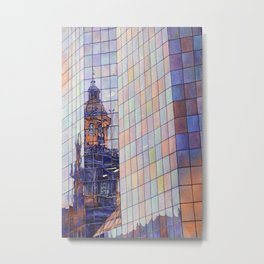 Watercolor painting of the neo-classical facade of the Cathedral on the Plaza de Armas in Santiago, Metal Print