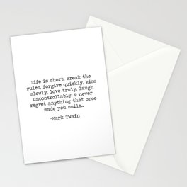 Life is short, never regret anything That Once - Mark Twain Long Quote Stationery Cards