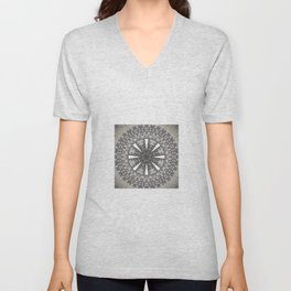 Bohemian Silver Multi Flower Mandala Design Unisex V-Neck