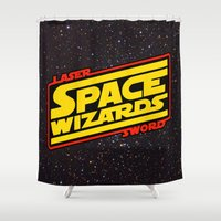sword Shower Curtains featuring LASER SWORD SPACE WIZARDS by BeastWreck