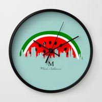 watermelon Wall Clocks featuring watermelon by mark ashkenazi