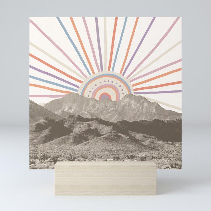 Bohemian Tribal Sun / Abstract Vintage Mountain Happy Summer Vibes Retro Colorful Pastel Sky Artwork Mini Art Print