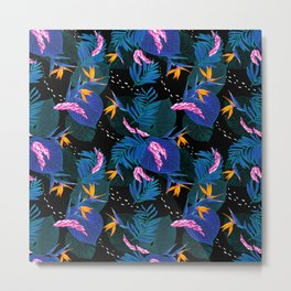 tropical // night in the garden Metal Print