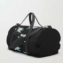 Waterlily Flowers On Black Background #decor #society6 #buyart Duffle Bag