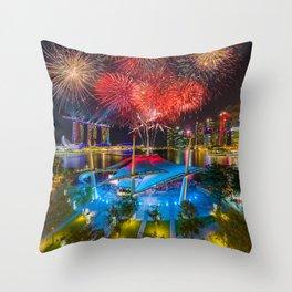 Fireworks in Singapore Throw Pillow