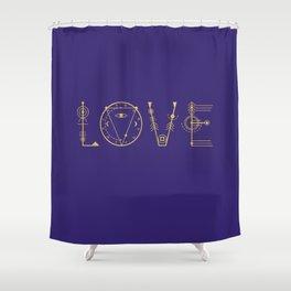 Love in Sacred Geometry Alphabet Shower Curtain
