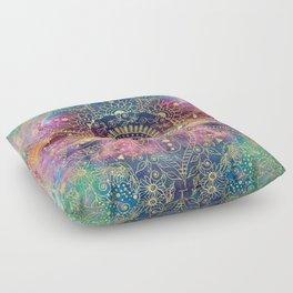 Gold watercolor and nebula mandala Floor Pillow