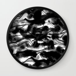Moody Black Fog All Over Painting Texture with Streaky Light Leaks. Trendy Abstract Dark Mood Wall Clock