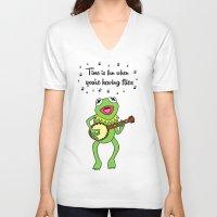 kermit V-neck T-shirts featuring Kermit having fun by BlackBlizzard