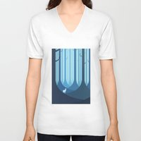 forest V-neck T-shirts featuring Blue forest by Roland Banrevi