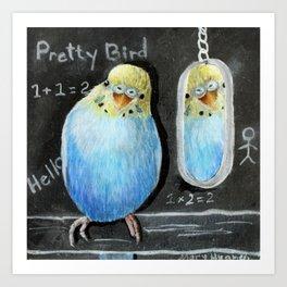 Parakeet Reflection on Chalkboard Art Print
