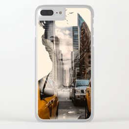 Yellow Cabs - Double Exposure Poster Clear iPhone Case