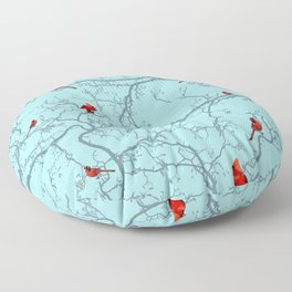 Winter Cardinals Floor Pillow