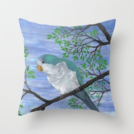 A painting of a quaker parrot Throw Pillow