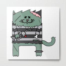 Zombie cat Metal Print